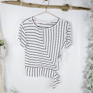 ABOUND stripe linen blend side tie t-shirt nwt 357